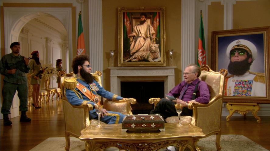 "Larry King interviews Sacha Baron Cohen's ""Dictator"""