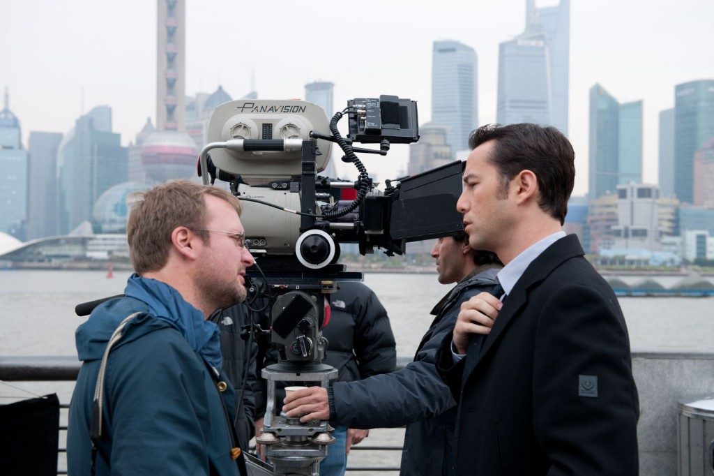 "Rian Johnson on the set of ""Looper"" with actor Joseph Gordon Levitt."