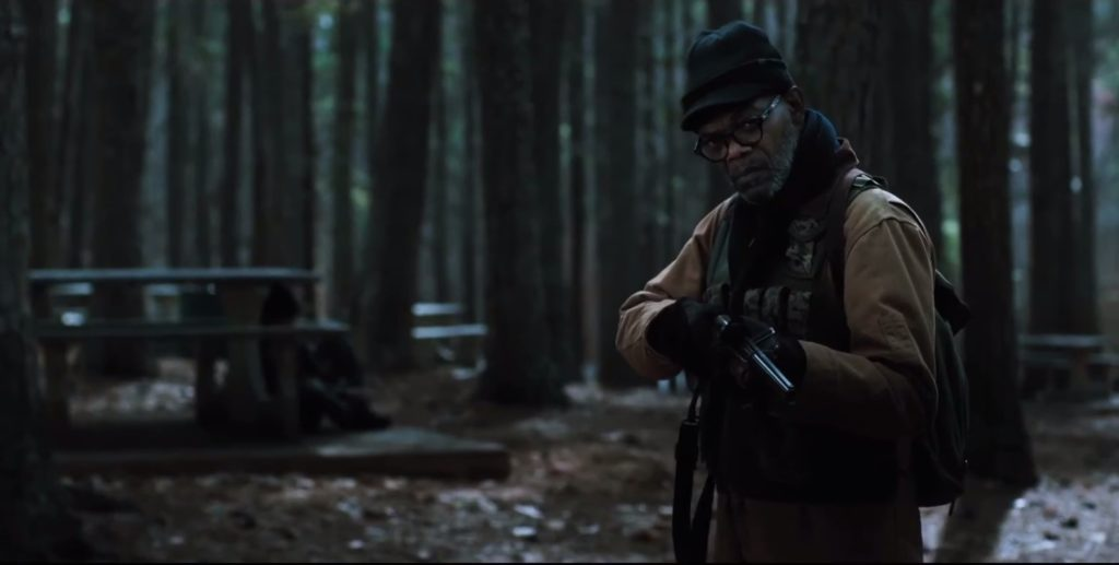 "Samuel L. Jackson prepares to fire his shotgun in the movie ""Cell."""