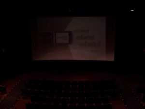 Auditorium #2 of the AMC Encinitas 8 as seen from the projection booth portglass. (Photo credit: Danny Baldwin)