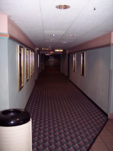 The hallway on the north side of the building, which housed Auditoriums 5-8. Auditoriums 7 and 8, the smallest in the complex, were added on after opening, replacing a daycare. (Photo credit: Danny Baldwin)