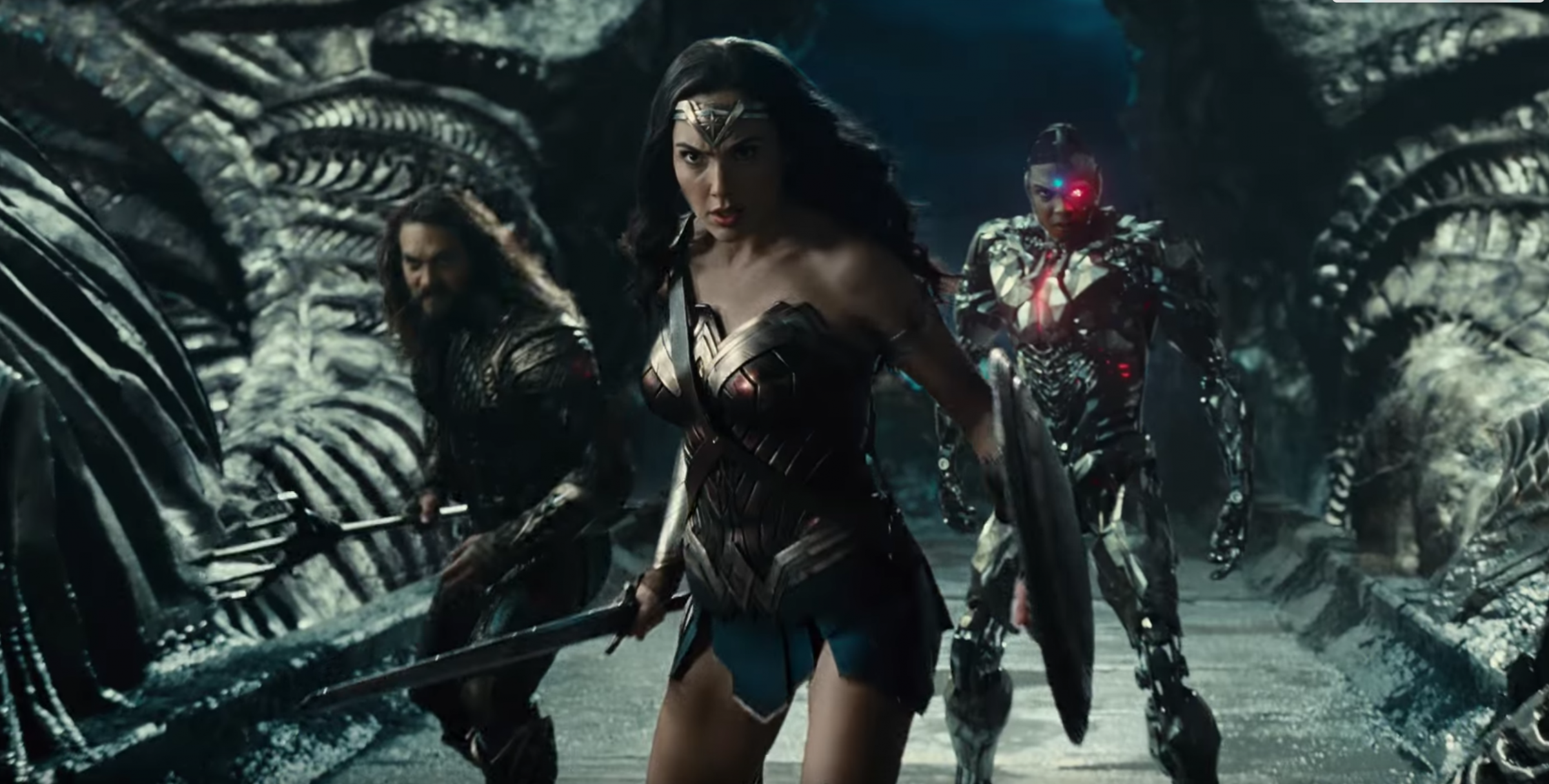 "Jason Momoa, Gal Gadot, and Ray Fisher in ""Justice League."""
